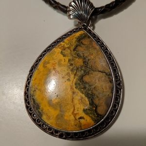Bumble bee Jasper 925 Sterling silver necklace